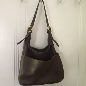 Legacy Vintage Coach Brown Gold Leather Hobo Bag